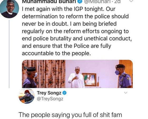 « Les gens disent que vous êtes plein de merde »: Après Wizkid, Trey Songz tacle le président Buhari